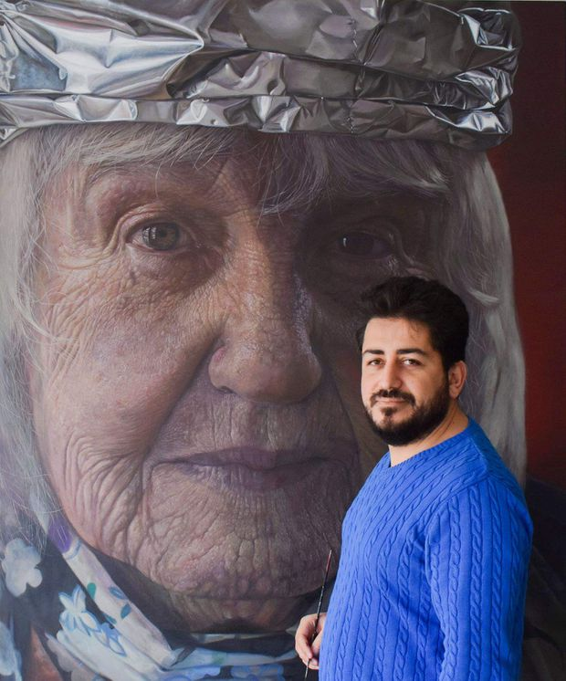 A year after Syrian artist Houssam Alloum's arrival in Canada, his portrait work is nominated for the Kingston Prize