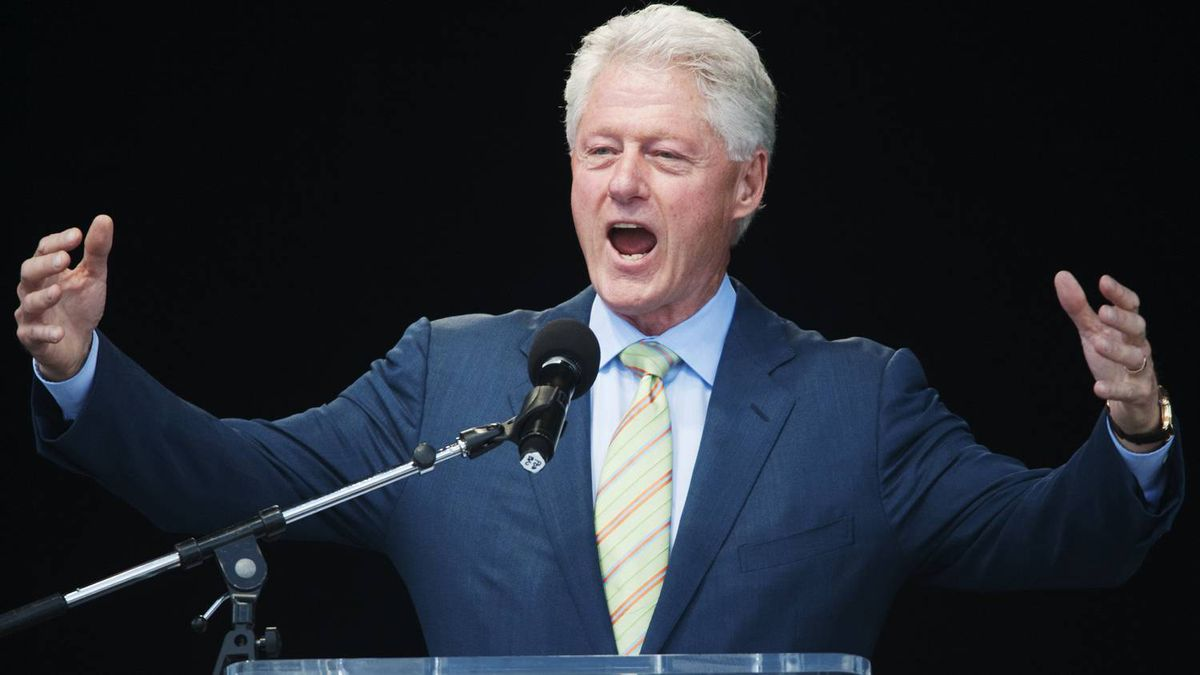 """Former U.S. president Bill Clinton speaks during his """"Embracing Our Common Humanity"""" speech at the Canadian National Exhibition in Toronto."""