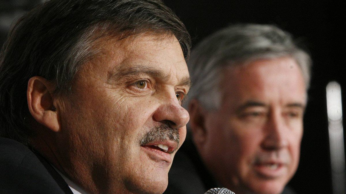 IIHF President Rene Fasel responds to a question as Hockey Canada CEO Bob Nicholson looks on during a news conference at the world junior hockey championship in Ottawa, Monday, Jan. 5, 2009.