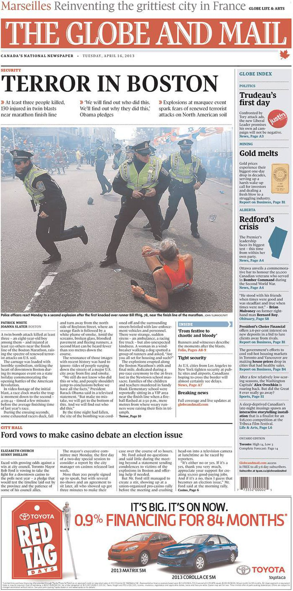 In pictures: Newspaper front pages the day after the Boston