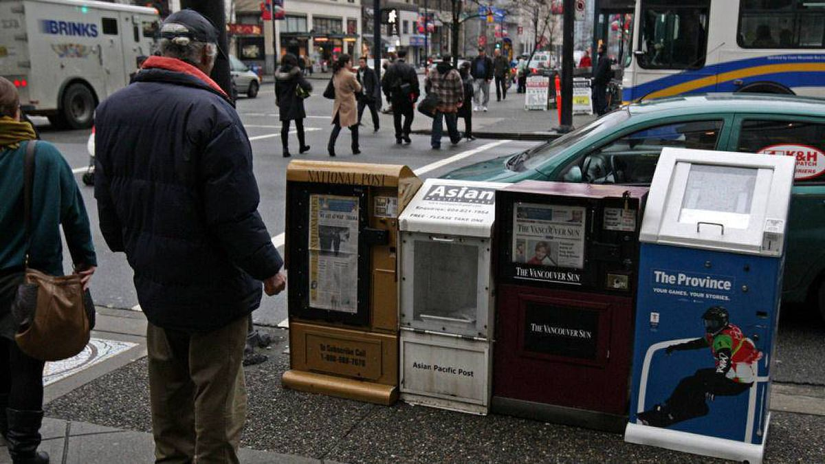 CanWest-owned newspaper boxes in Vancouver