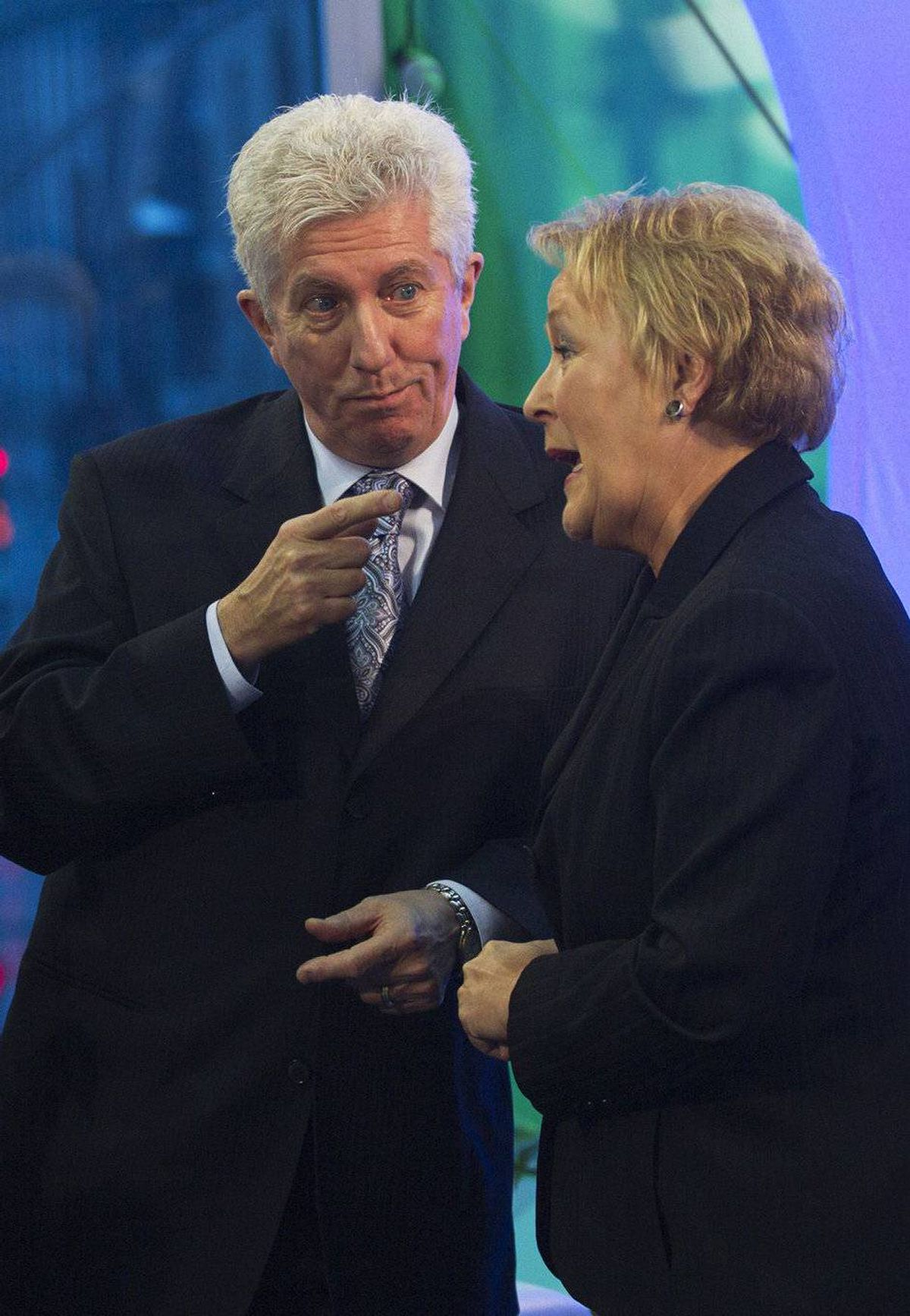 "Bloc Québécois Leader Gilles Duceppe started Saturday morning with a breakfast with supporters in Quebec City, followed by a speech to union workers. He then traveled to St-Tite to visit a micro-brewery. On Sunday, at a Parti Quebecois policy convention that reaffirmed Pauline Marois' leadership, Mr. Duceppe said that Quebeckers had taken a further step down the path to sovereignty. ""We have only one task to accomplish,"" he told delegates. ""Elect the maximum number of sovereigntists in Ottawa and then we go to the next phase: electing a PQ government. ""A strong Bloc in Ottawa. The PQ in power in Quebec. And everything again becomes possible."" (Photo: Bloc Quebecois leader Gilles Duceppe (2nd R) speaks with Pauline Marois (R), leader of the Parti Quebecois)"
