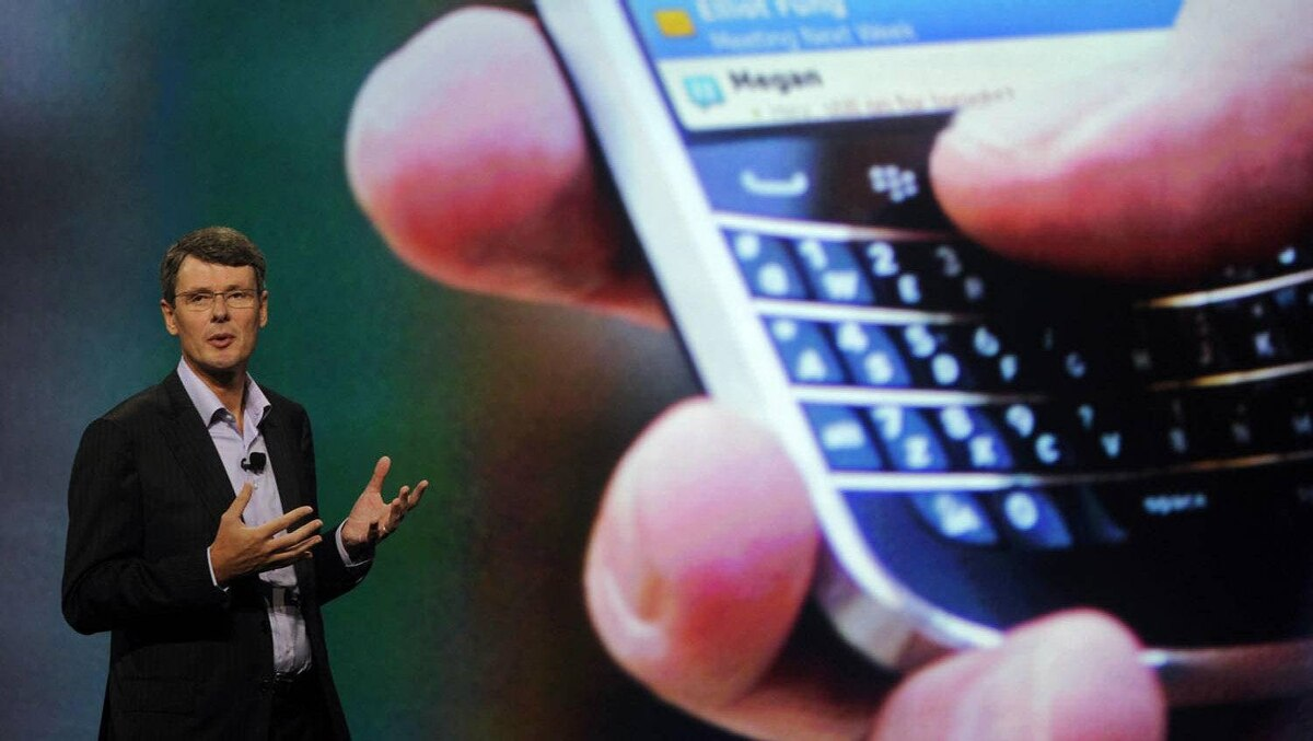 Research in Motion Chief Executive Officer Thorsten Heins speaks at the BlackBerry World event in Orlando.