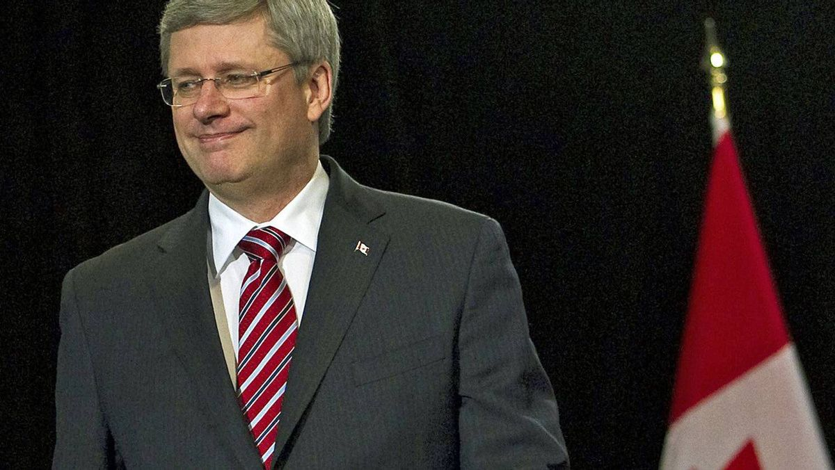 Prime Minister Stephen Harper arrives a news conference in Toronto on March 3, 2011.