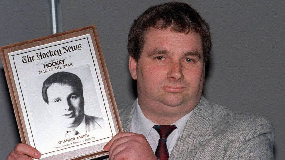 Former hockey coach Graham James accepts a Hockey News award in Toronto in this June 8, 1989, photo.