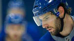 Vancouver Canucks' Ryan Kesler concentrates on the puck during team practice in Vancouver, B.C., on Thursday, May 12, 2011. The Canucks have advanced to the NHL Western Conference final which begins on Sunday in Vancouver.