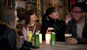 TORONTO -- April 13, 2012: (left to right) Kim Yong-Set, Alice Keogh and Jack Kwok at La Carnita's Uno: The Art Show at Evergreen Brick Works. Photo by Della Rollins for the Globe and Mail