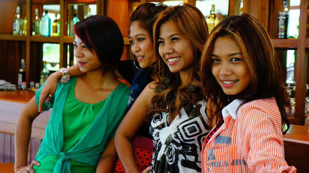 The Me N Ma Girls give an impromptu a capella performance at The Governor's Residence hotel in Yangon.