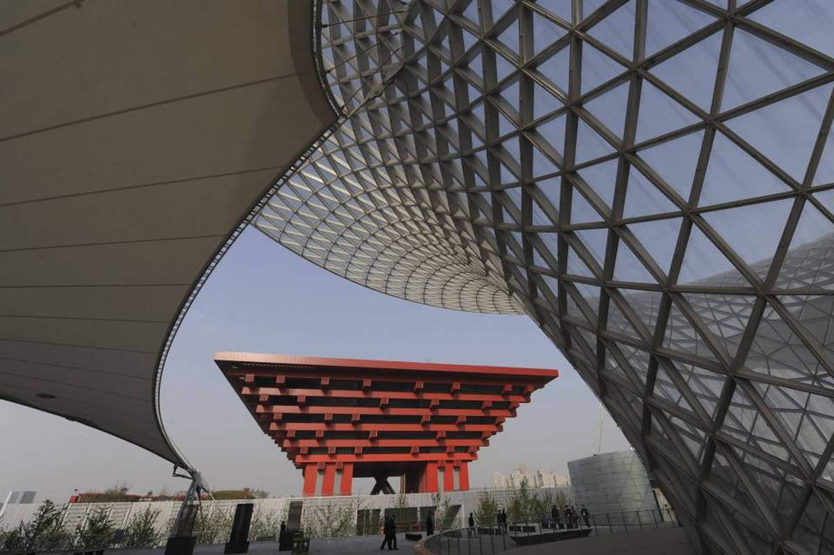 China Pavilion is seen at the Shanghai World Expo site in Shanghai on April 28, 2010.