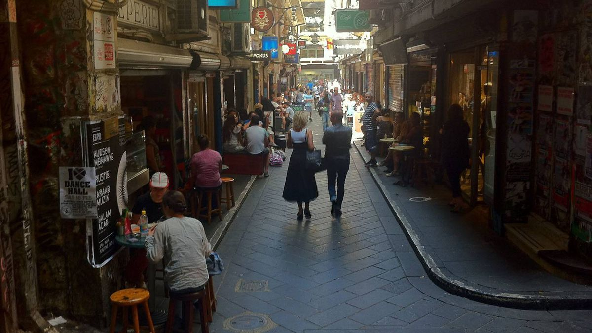 Locals eat, shop and stroll along Melbourne's iconic Centre Place Lane.