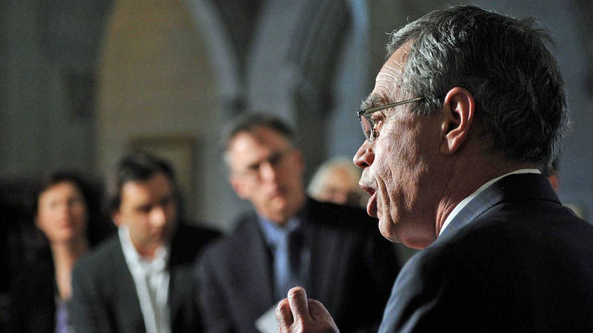 Minister of Natural Resources Joe Oliver speaks during a press conference on Parliament Hill in Ottawa on Monday, May 7, 2012.