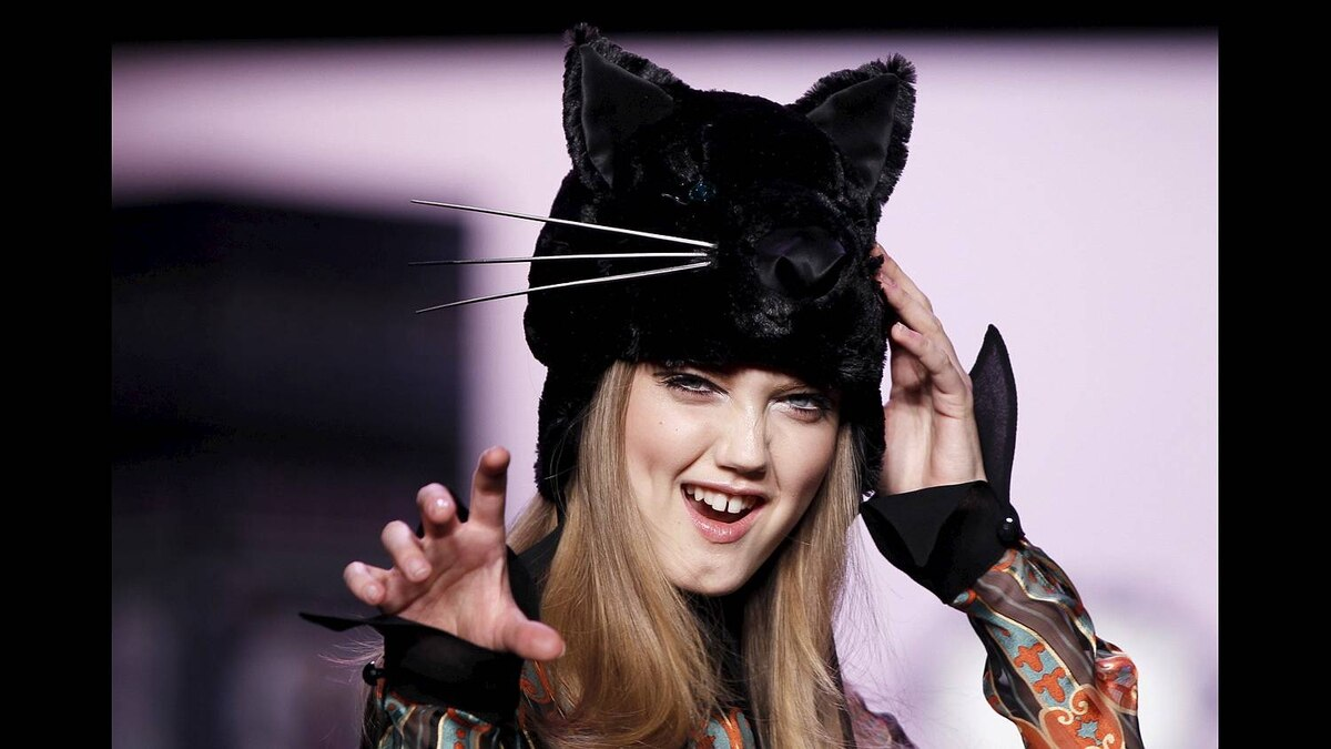 A model presents a creation from the Anna Sui Fall/Winter 2011 collection during New York Fashion Week