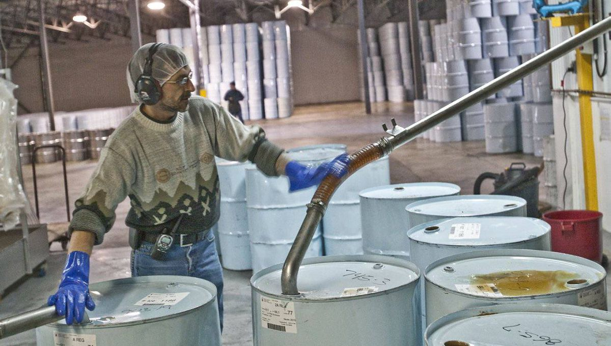Danny Ayotte fills drums with maple syrup, prepping it for pasteurization at the International Strategic Reserve in St-Antoine-de-Tilly, 40 kilometres southwest of Quebec City.