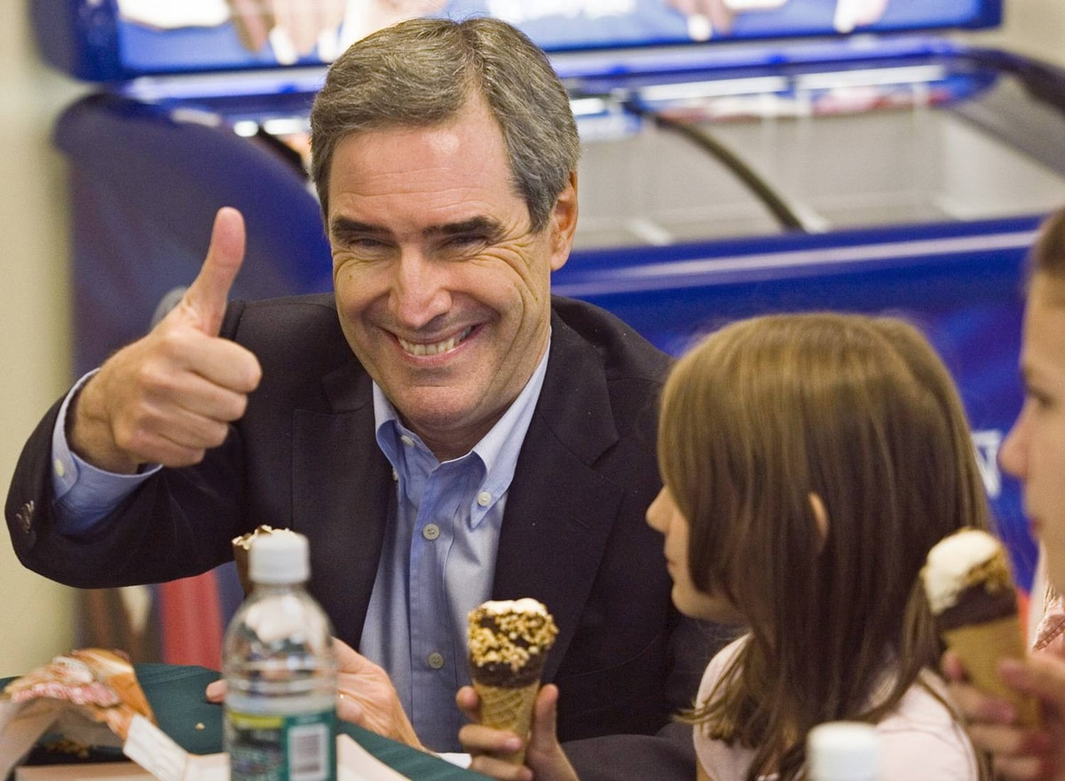 Liberal Leader Michael Ignatieff eats ice cream with a group of students during a visit to the Scotsburn Dairy operation in Truro, N.S. on Thursday, October 22, 2009.