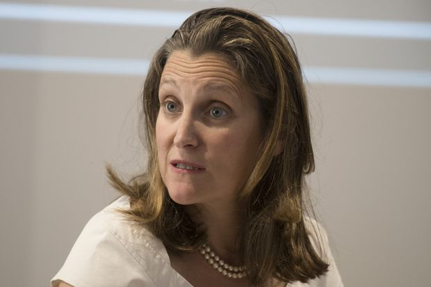 Freeland orders officials to revoke appointment of Syrian consul in Montreal