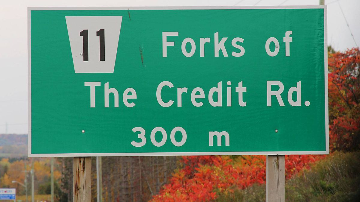 The easiest way to find the Forks of the Credit Road is by following Highway 10 north of Brampton, Ontario