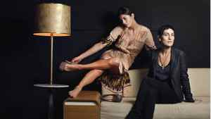 Rachel Mara with model Genida Prifiti, preparing for Toronto Fashion Week.