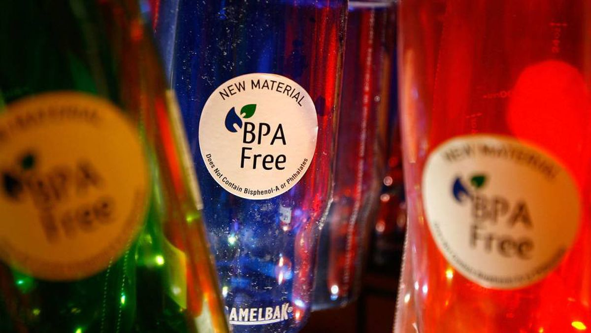 ARCADIA, CA - APRIL 16: Camelback brand water bottles that are free of the controversial carbonate plastic bisphenol a (BPA), one of the most widely used synthetic chemicals in industry.