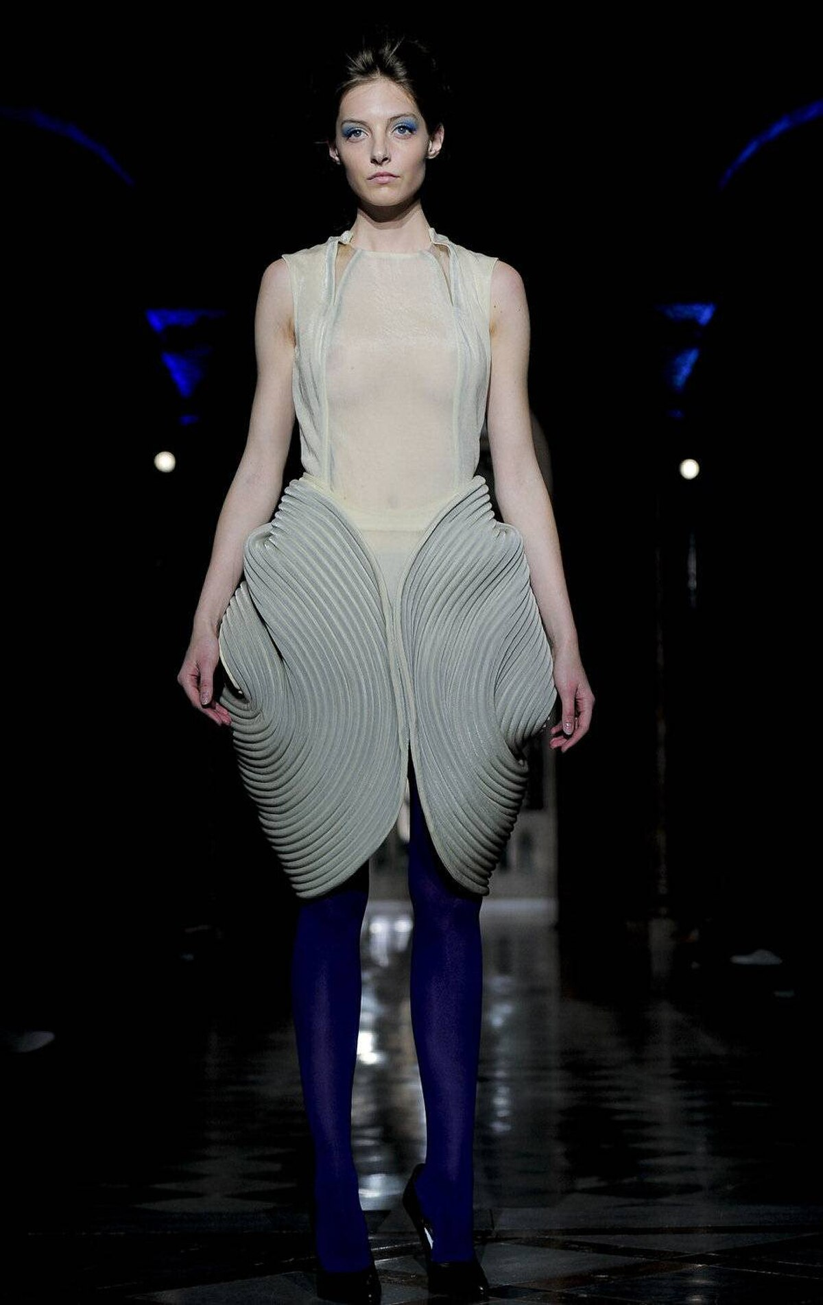A model wears an creation by designer Steffie Christiaens during the 080 Barcelona fashion show on July 13, 2011.