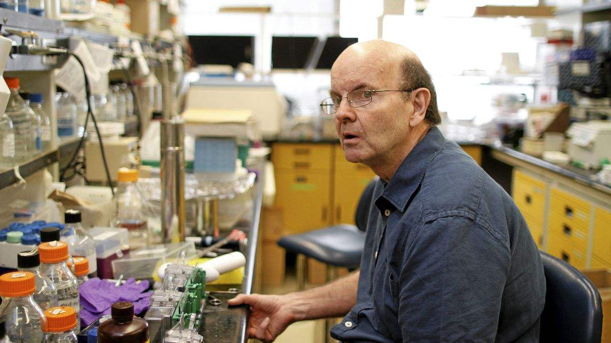 Dr. John Roder is a neurobiologist and Senior Investigator at the Samuel Lunenfeld Research Institute of Mount Sinai Hospital who is being affected by Huntington's disease, a devastating inherited brain disease, photographed at his research lab at the hospital on University Ave., Toronto March 01, 2011.