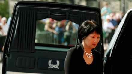 MP Olivia Chow follows the casket of late husband Jack Layton in Parliament Hill in Ottawa.