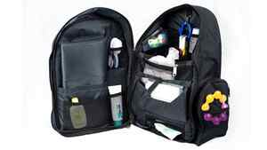 Organization amid baby chaos Pack everything from a DVD player to spare clothes, sippy cups, toys and books in Okkatot's Travel Baby Depot Bag. Multiple compartments – including a ventilated pacifier pouch – keep things organized. The built-in diapering station includes a soft changing pad and removable wipe dispenser. $119.99 (U.S.); okkatots.com