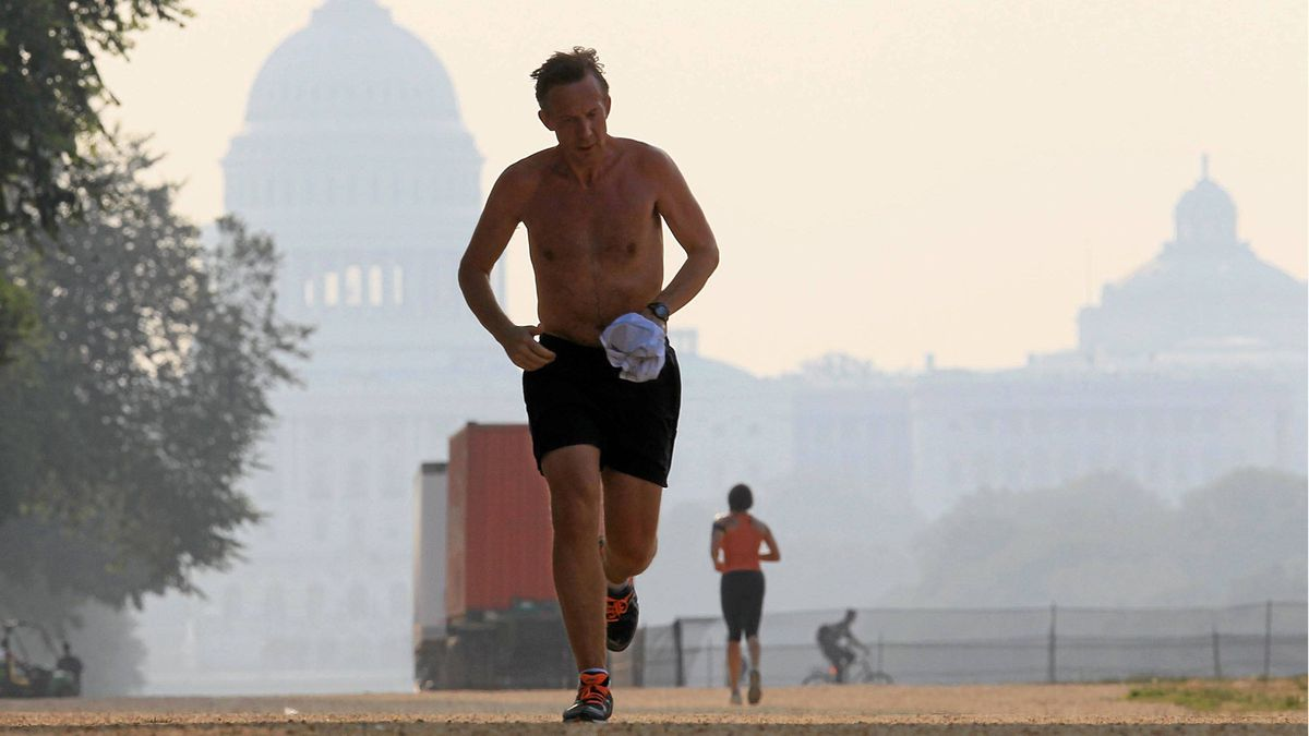 A jogger braves the heat as he runs along the National Mall near the U.S. Capitol, on June 9, 2011 in Washington, DC. A heat advisory is in effect for the Washington area, and temperatures are expected to be in the middle to upper 90s this afternoon.