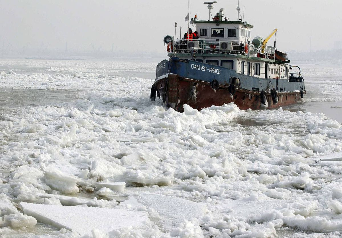The Danube Grace tries to break the ice on the frozen Danube river near the city of Giurgiu, 70 km south of Bucharest, Romania.