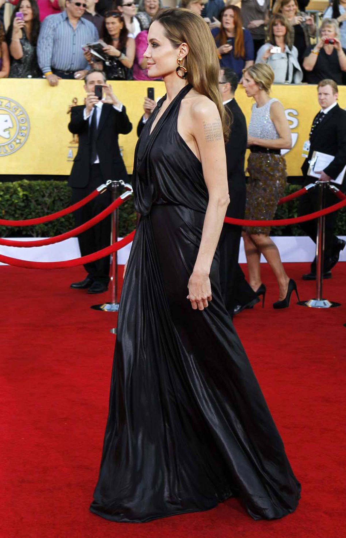 Angelina Jolie wore a gown to the SAG awards made from the latest ethically trendy material in the U.S.: Alberta bitumen.