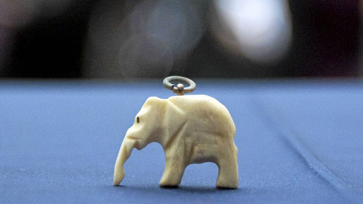 A small ivory elephant, which was placed inside a time capsule and hidden in the Maple Leaf Gardens building on September 21, 1931, is seen in Toronto on Thursday, January 26, 2012. The meaning of the elephant is unknown.