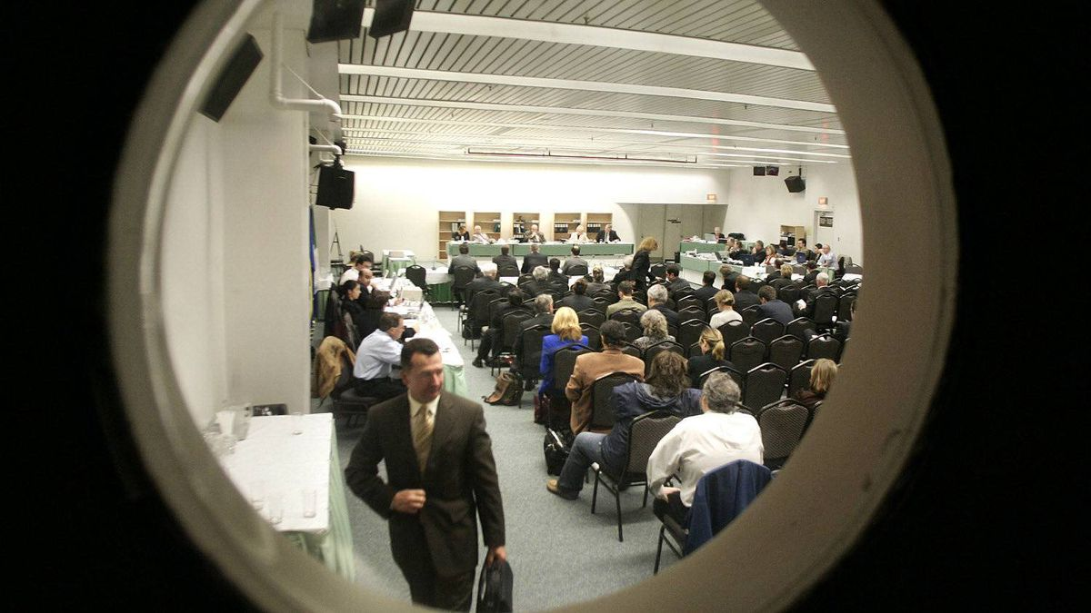 File photo showing view from the sound room at CRTC hearings in Gatineau.