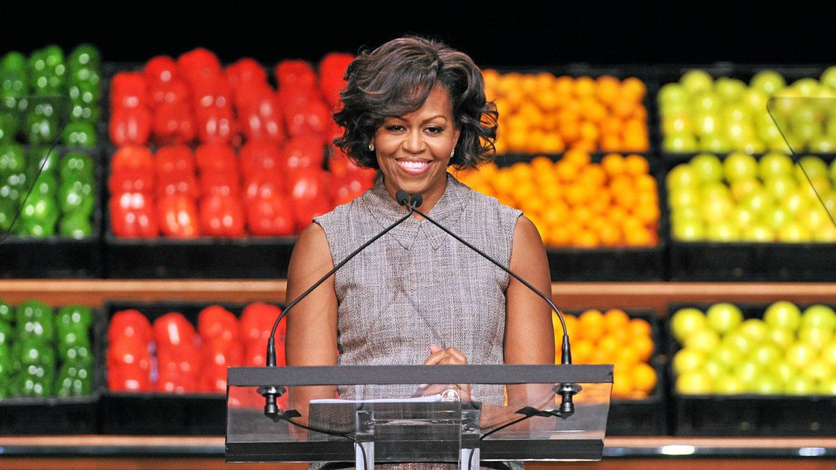 US First Lady Michelle Obama speaks as she joins business leaders from Walmart, an American public multinational corporation that runs a chain of large discount department stores and a chain of warehouse stores, for an announcement impacting food formulation, availability and affordability in Washington, DC, on January 20, 2011.