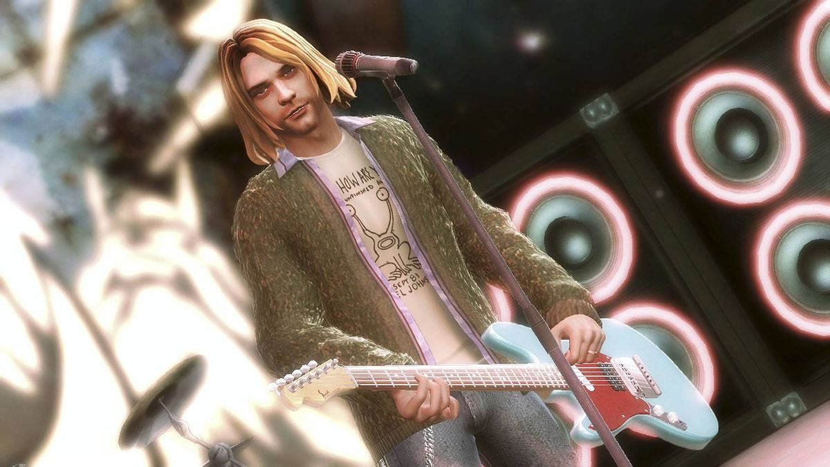 Kurt Cobain as he appears in Activision's Guitar Hero 5, perhaps the only way the graduating class of 2014 may know him.