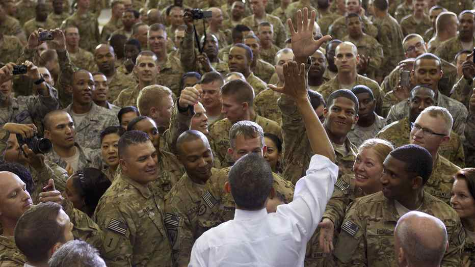 U.S. President Barack Obama greets U.S. soldiers at Bagram Air Base, north of Kabul, on Wednesday.