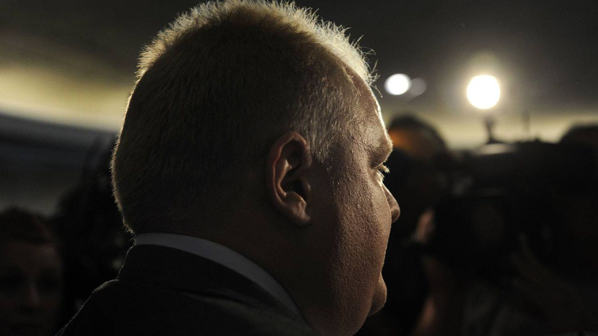 Toronto mayor Rob Ford is photographed during a media scrum after a media event on April 18, 2012.