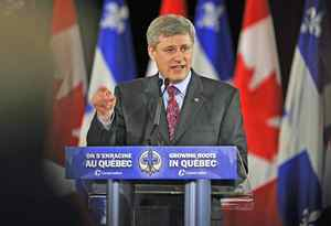 Prime Minister Stephen Harper speaks at a Conservative Party fundraiser in Montreal on May 20, 2009.