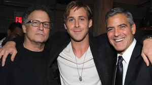"""TORONTO, ON - SEPTEMBER 10: (L-R) Actors Albert Brooks, Ryan Gosling and Actor/Director George Clooney attend """"A Dangerous Method"""" party hosted by GREY GOOSE Vodka at Soho House Pop Up Club during the 2011 Toronto International Film Festival on September 10, 2011 in Toronto, Canada."""