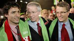 Stephane Dion is congratulated by Justin Trudeau and Gerard Kennedy upon his election as Liberal leader in Montreal on Dec. 2, 2006.