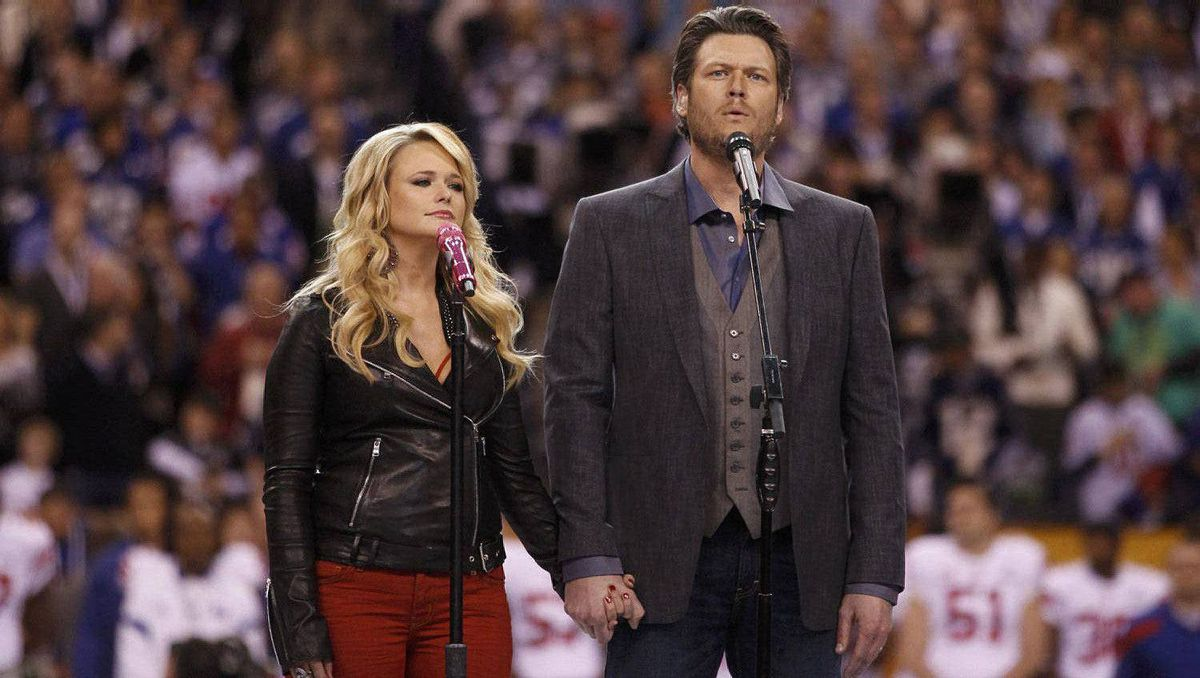 "Miranda Lambert and her husband Blake Shelton sing ""America the Beautiful"" before the start of the NFL Super Bowl."