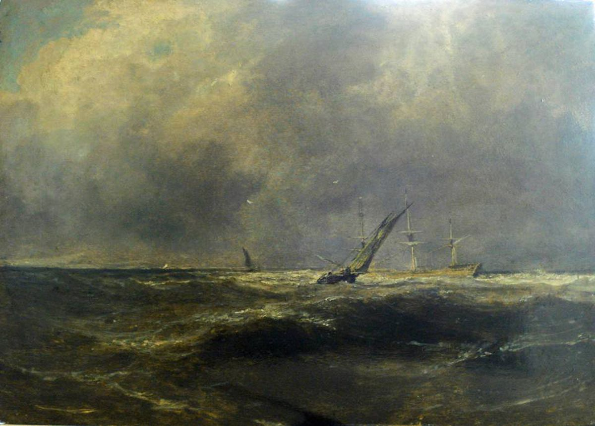 Turner's An Open Sea View with an Indiaman and Two Fishing Boats is a small oil painting, just 31.8 by 45.5 centimetres.