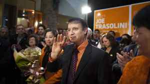 NDP MLA-elect for Port Moody-Coquitlam, Joe Trasolini celebrates his victory surrounded by colleagues, supporters and family in Port Moody, B.C. on April 19, 2012.