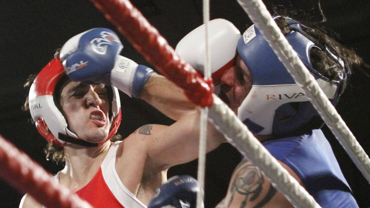 Conservative Senator Patrick Brazeau, right, and Liberal MP Justin Trudeau fight in a charity boxing match for cancer research Saturday, March 31, 2012 in Ottawa .Trudeau won the match.