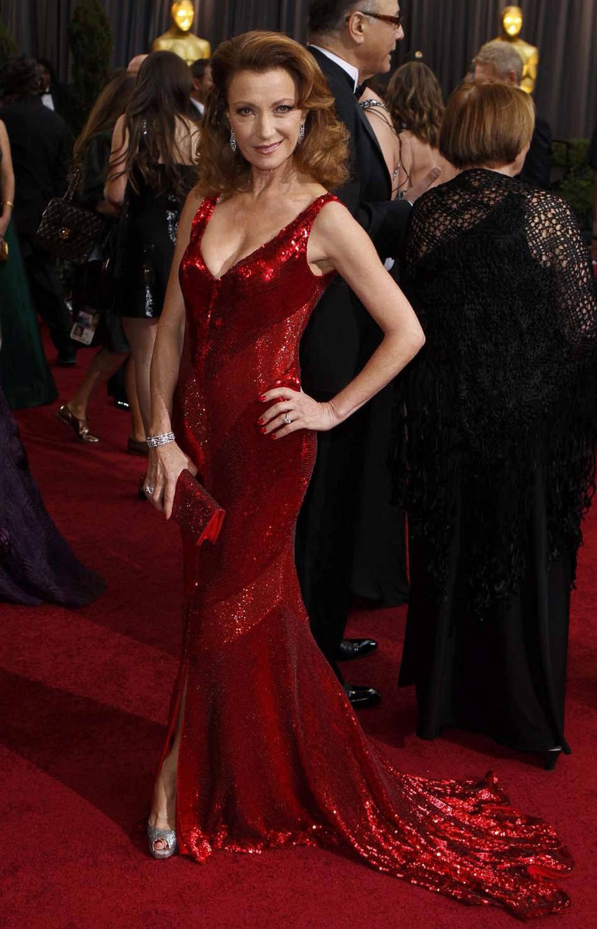 "English actress Jane Seymour says ""C'mon over some time, big boy"" on the Oscars red carpet Sunday."