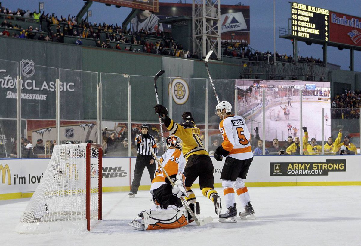 Boston Bruins left wing Marco Sturm (16), of Germany, celebrates after scoring the game-winning goal in overtime in front of Philadelphia Flyers goalie Michael Leighton (49) and defenseman Braydon Coburn (5) in the New Year's Day Winter Classic NHL hockey game on an outdoor rink at Fenway Park in Boston, Friday, Jan. 1, 2010. The Bruins won 2-1 in overtime. (AP Photo/Elise Amendola)