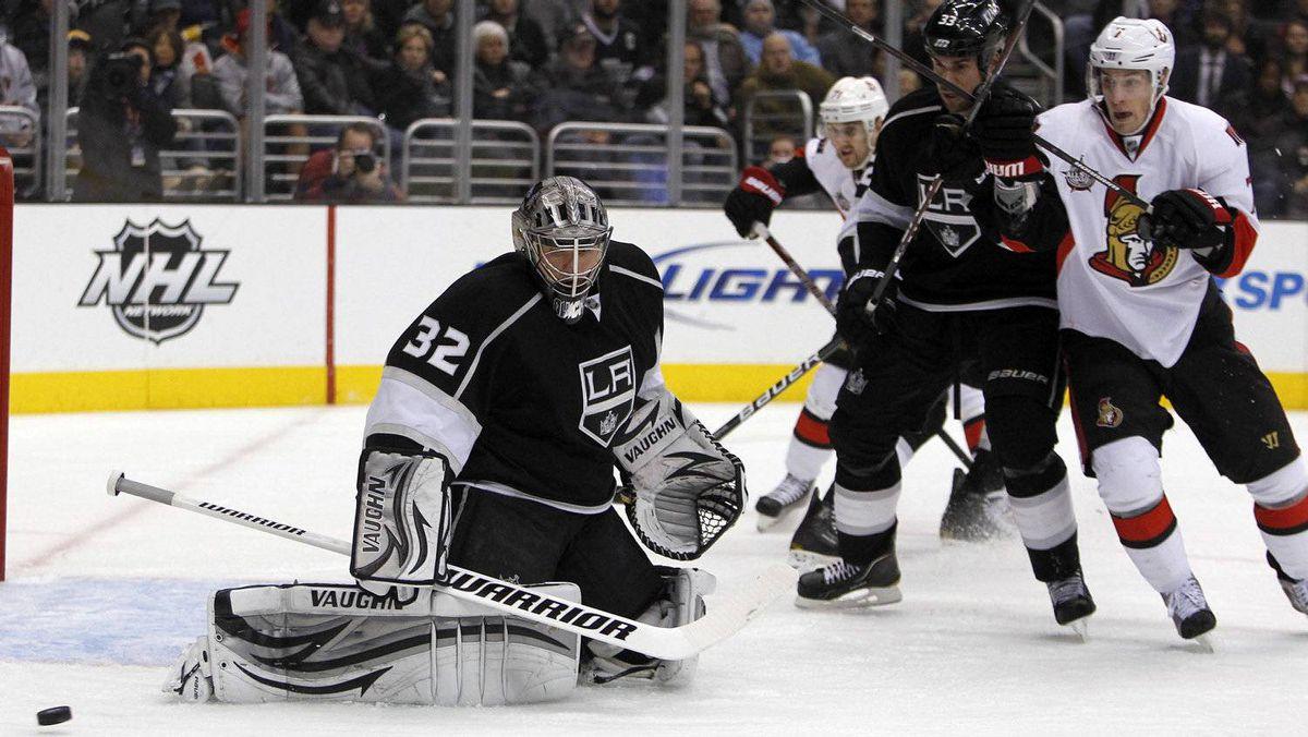 Los Angeles Kings goalie Jonathan Quick makes a pad save against the Ottawa Senators.
