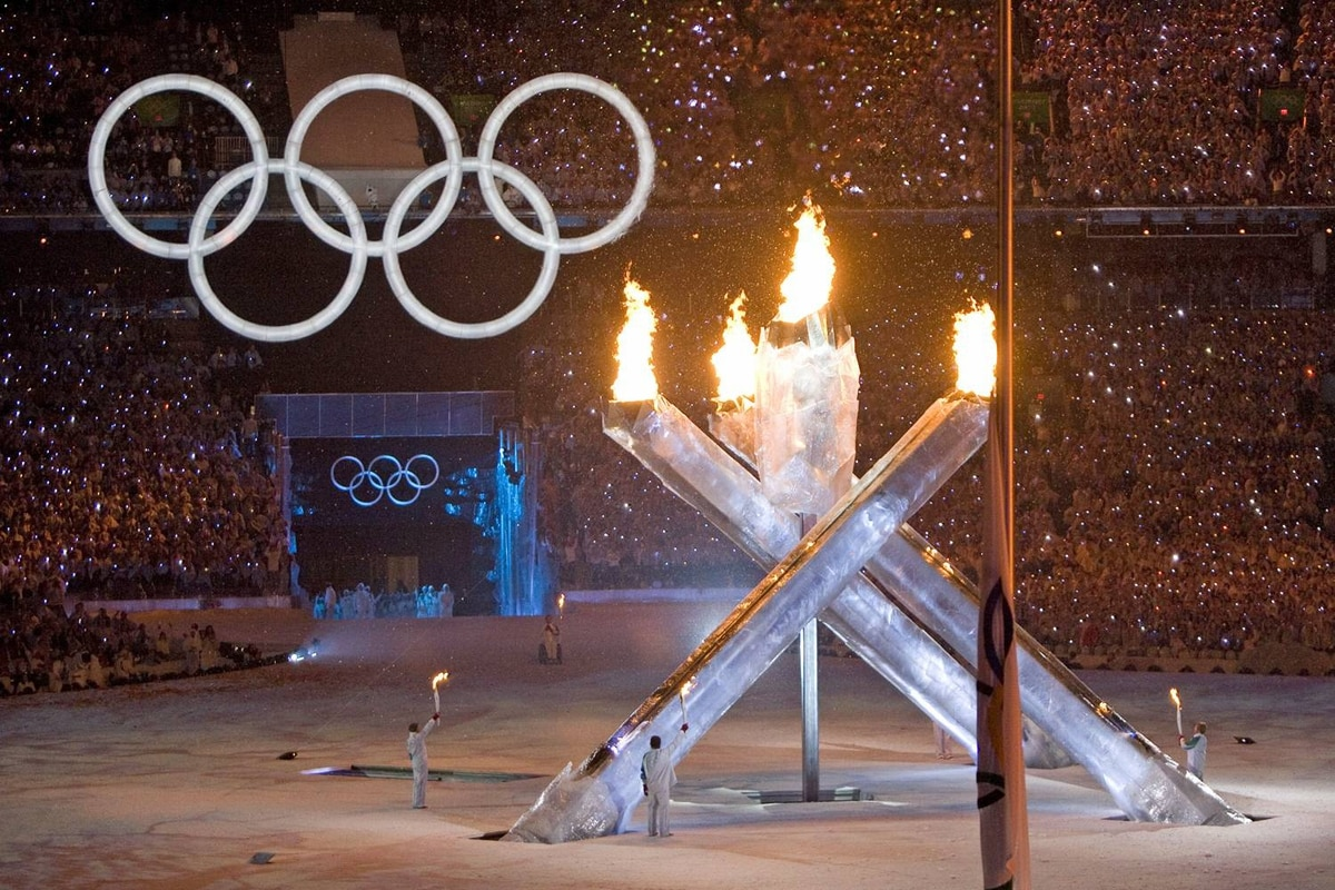 The Olympic cauldron is lit during the opening ceremony at BC Place in Vancouver on Feb. 12, 2010.
