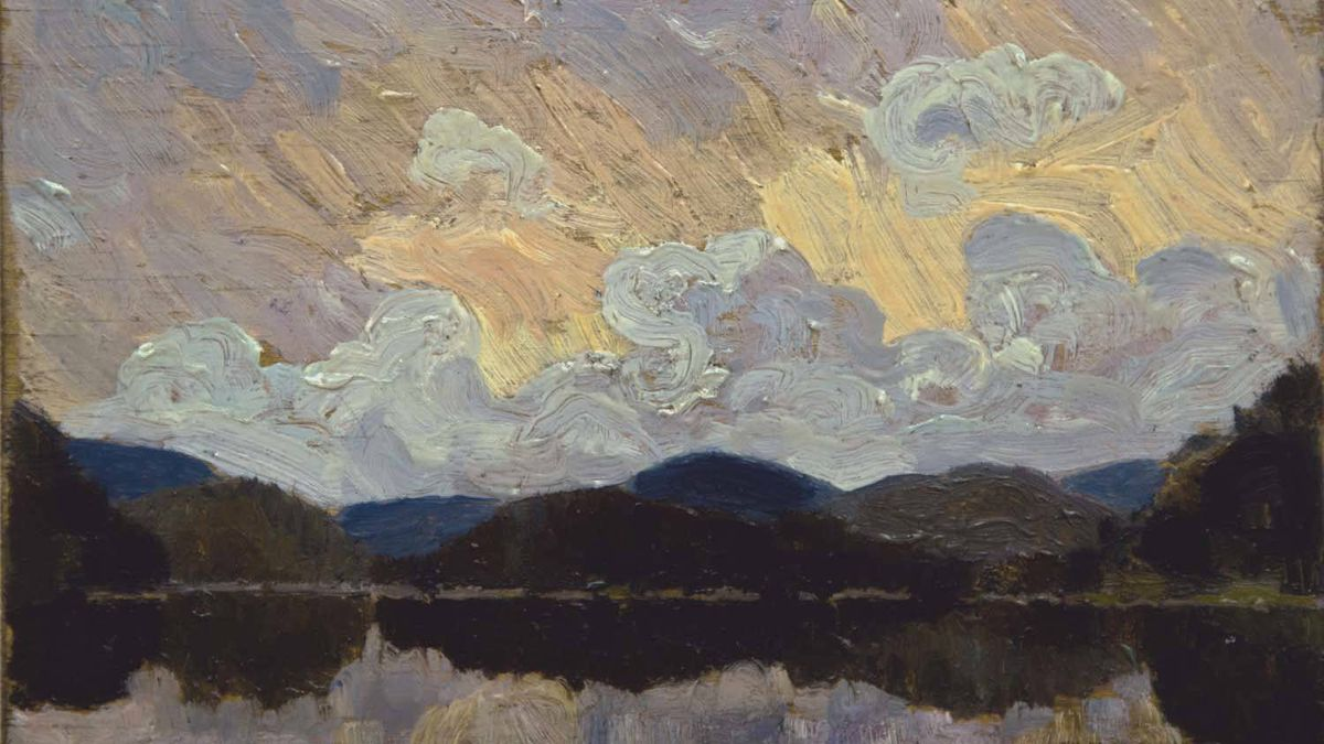 Detail of painting bought at a garage sale and believed to be the work of artist Tom Thomson.