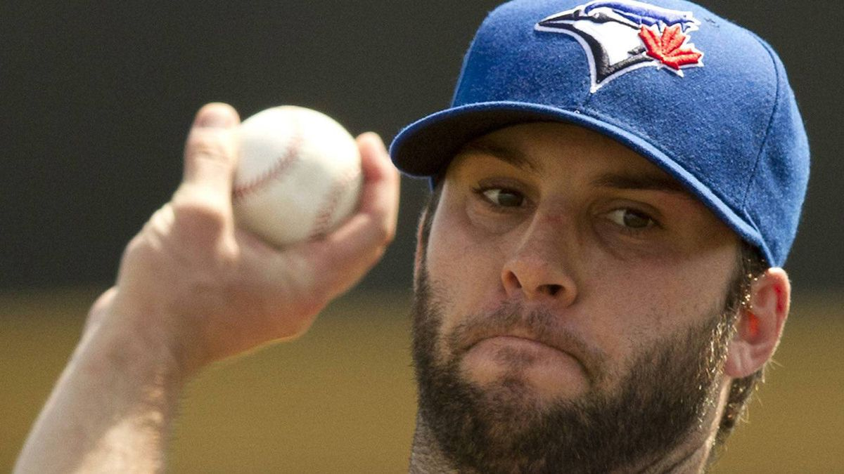 Toronto Blue Jays starting pitcher Brandon Morrow warms up before facing the Boston Red Sox in Spring Training action in Dunedin, Fla. on Wednesday March 7 2012. THE CANADIAN PRESS/Frank Gunn