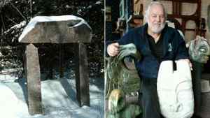 """Edward Loyst's """"magic arch,"""" left, an installation on his cottage property placed at the edge of a forest and leading nowhere; he tells visiting children that, if they pass under it, they will find a 'wonderland that only children can see.' At right, Edward Loyst holding some of his sculptures, including a stone mask and an eagle-like creature."""