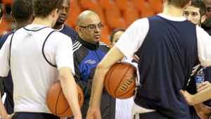 Ryerson men's basketball head coach Roy Rana runs a practice at the Metro Centre in Halifax, March 8, 2012.